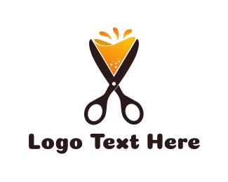 Orange Juice - Cocktail Scissors logo design