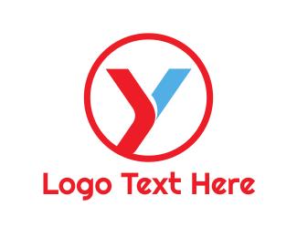 Gasoline - Round Red Blue Y logo design