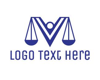 Judge - Blue V Lawyer logo design