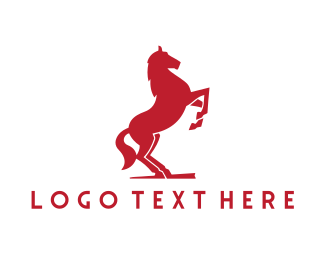 Equine - Red Horse logo design