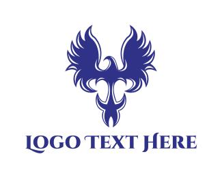 Medieval - Medieval Blue Eagle logo design