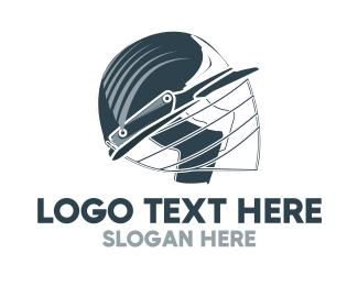 Headgear - Blue Cricket Helmet logo design