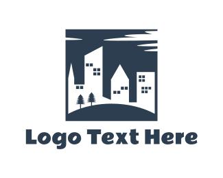 Accomodation - Buildings & Park logo design