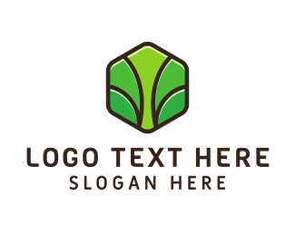 Primitive - Green Hexagon Tree  logo design