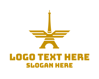 French - Golden Tower Wings logo design