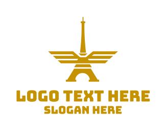 Eiffel - Golden Tower Wings logo design