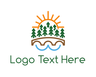 Hiking - Forest Bridge logo design