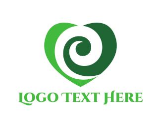 Eco - Green Heart logo design