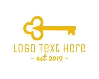 Keyhole - Gold Key logo design