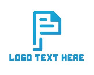 Script - Page Letter P logo design