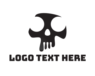 Gang - Black & White Abstract Skull  logo design