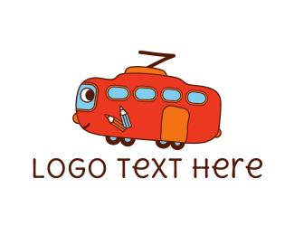 Childcare - Friendly Red Bus logo design
