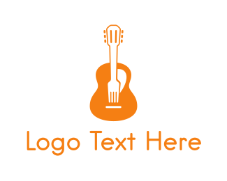 Guitarist - Music & Food logo design