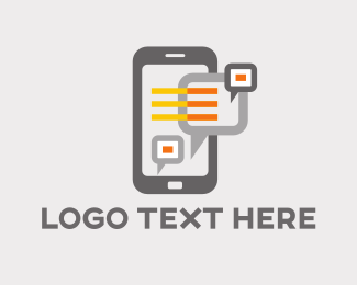 Smartphone - Chat Boxes logo design