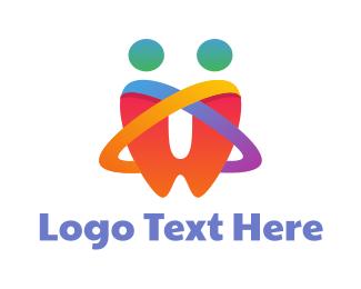 Oral - Rainbow Tooth Couple  logo design