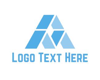 Glacier - Blue Letter A logo design