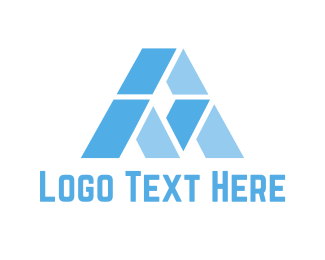 Mountain - Blue Letter A logo design