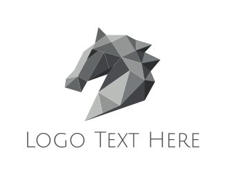 Stallion - Grey Geometric Horse logo design