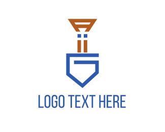 Archaeology - Blue Shovel logo design