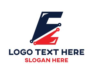 Letter E Circuit Logo