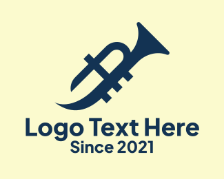 Saxophone - Yellow Trumpet logo design