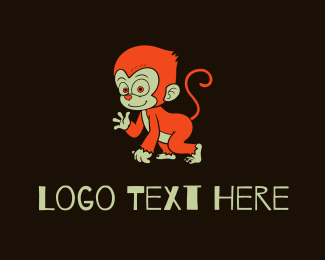 Chimpanzee - Orange Monkey Cartoon logo design