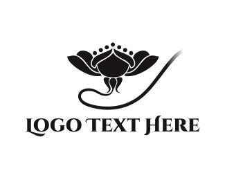 Lotus - Black Flower logo design