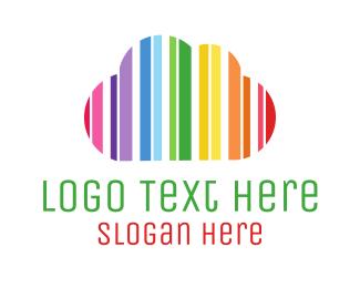 Creative Services - Minimalist Rainbow Cloud logo design