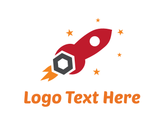 Astronaut - Red Tool Rocket logo design