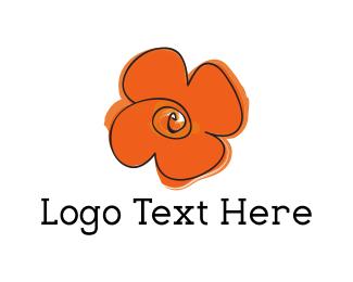 Greeting Card - Orange Flower logo design