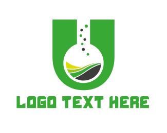Initial - Chemical Letter U logo design