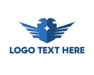 Captain - Blue Double Falcon logo design