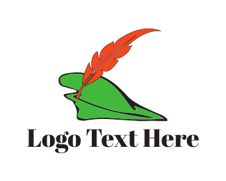 Feather - Green Hat logo design