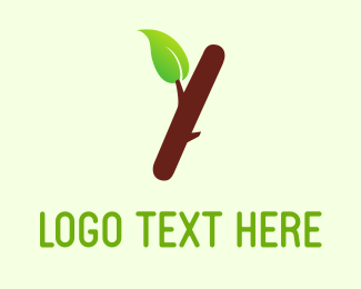 Root - Brown Branch & Green Leaf  logo design