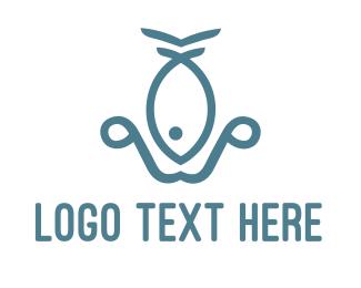 Anchor - Fish Anchor logo design