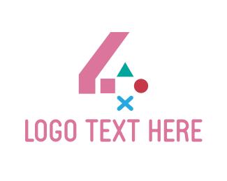 Clan - Pink Gaming Number 4  logo design