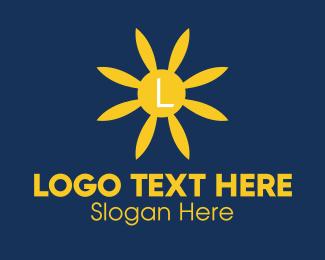 Botanist - Blue Flower Lettermark logo design
