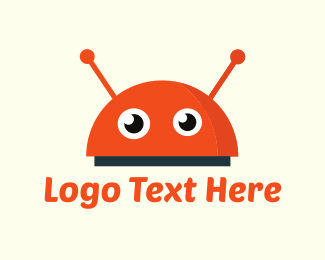 Antenna - Cute Orange Robot logo design