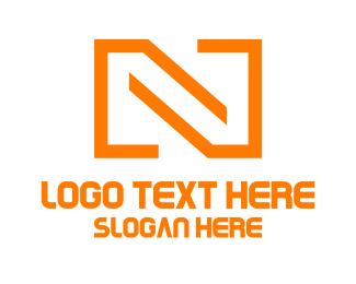 Letter N - Minimalist Orange N logo design