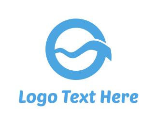 Surf - Blue Wave Circle logo design