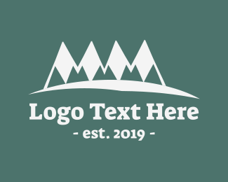 Skiing - Green & White Mountains logo design