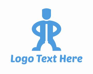 Man - Plumber Plunger Man logo design