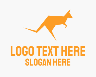 Jump - Yellow Kangaroo logo design