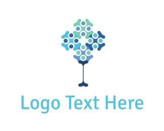 Dna - Abstract Tree logo design
