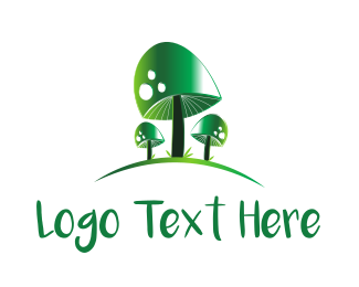 Mushroom - Green Mushrooms logo design