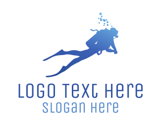 Swim - Blue Diver logo design