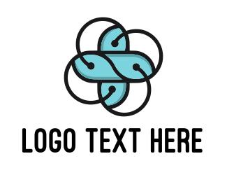 Atomic - Abstract Flower logo design