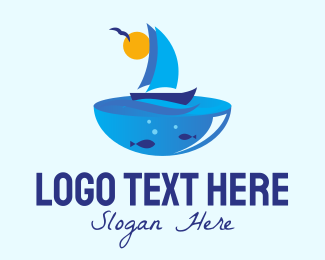 Lake - Blue Sailboat logo design