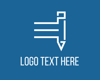 Blue And White - Fast White Pencil logo design