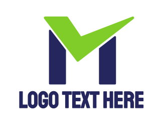 Complete - Check Green M logo design